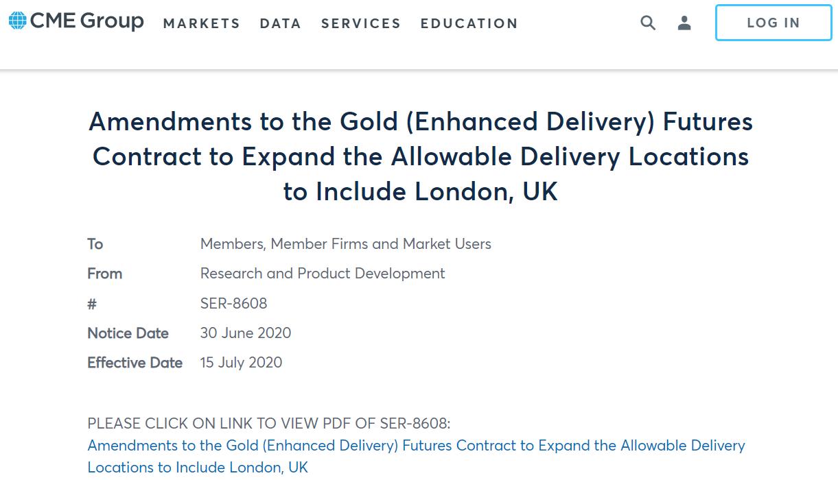 芝加哥商品交易所将把新Comex黄金期货合约交割地扩大至伦敦